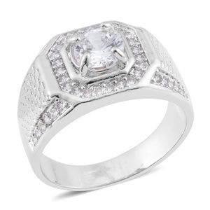 Other - Men's SimDiamond Silvertone Signet Ring